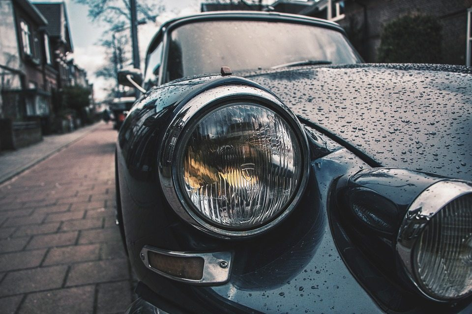 Close up of car headlight