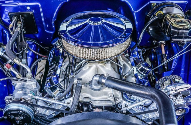 Car Engine with Blue