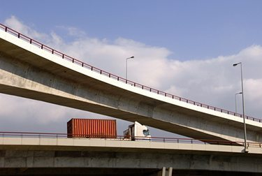 Truck-on-overpass