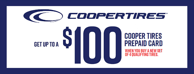 Up to a $100 Cooper Tire Prepaid Card Coupon